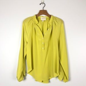YUMI KIM bright yellow silk button down shirt